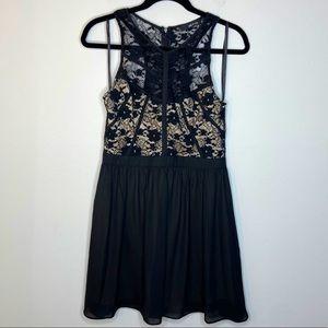 ModCloth Black Lace Racerback Tank Mini Dress